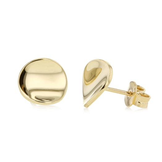 14K Yellow Gold Smooth Rounded Disc Earrings