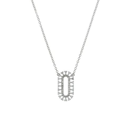 18K White Gold Elongated Oval Diamond Necklace, TWT.24