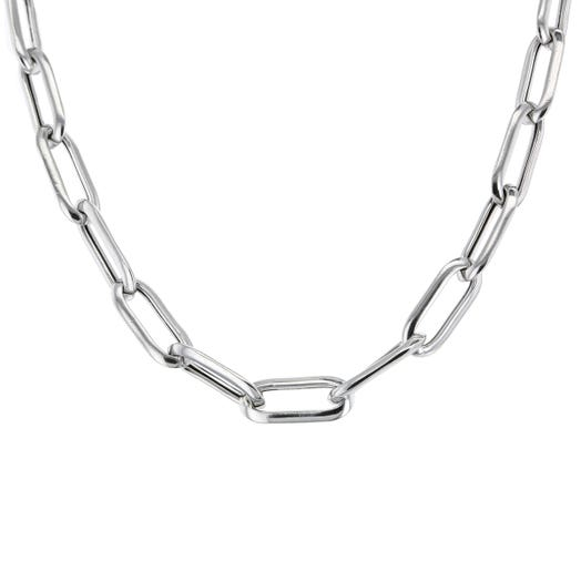 Sterling Silver Elongated Oval Link Necklace, 20""