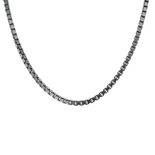 """Sterling Silver Oxidized 2MM Box Chain, 20"""""""