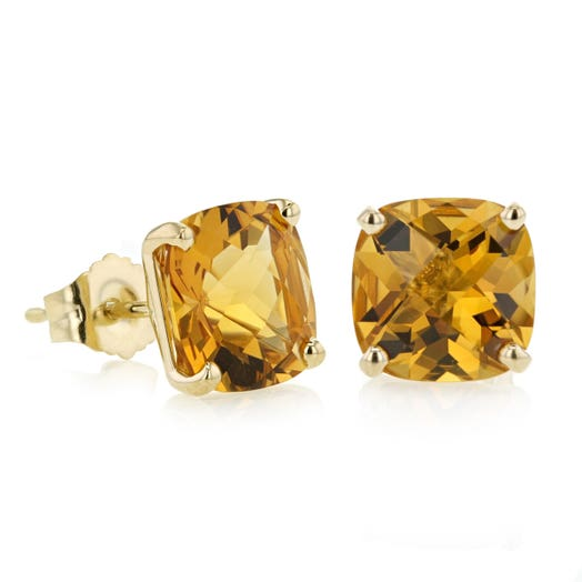 14K Yellow Gold Cushion Cut Citrine Stud Earrings