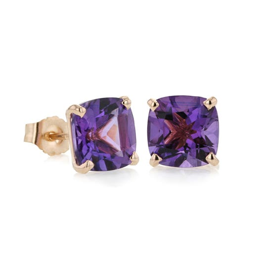 14K Rose Gold Cushion-Cut Amethyst Stud Earrings