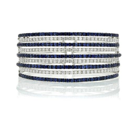 18K White Gold 4.95 Carat Diamond and Sapphire Cuff Bracelet