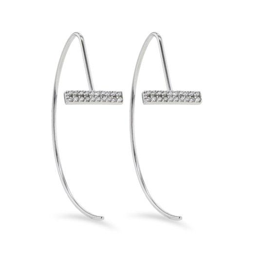 Little Luxuries Sterling Silver Cubic Zirconia Bar Open Hoop Threader Earrings