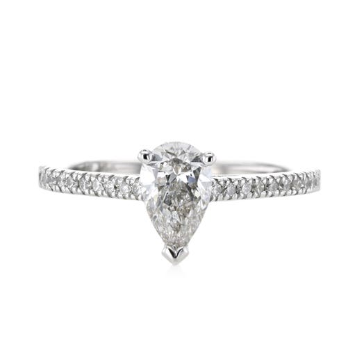 14K White Gold .71 Carat Pear-Cut Engagement Ring with Diamond Accents, TWT.24