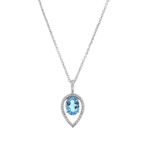 oval-cut blue topaz suspended in floating pear-shaped white diamond halo and white gold chain link