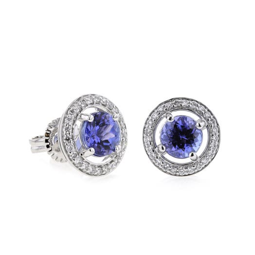 14K White Gold Tanzanite Stud Earrings with Floating Diamond Halos, TWT .31