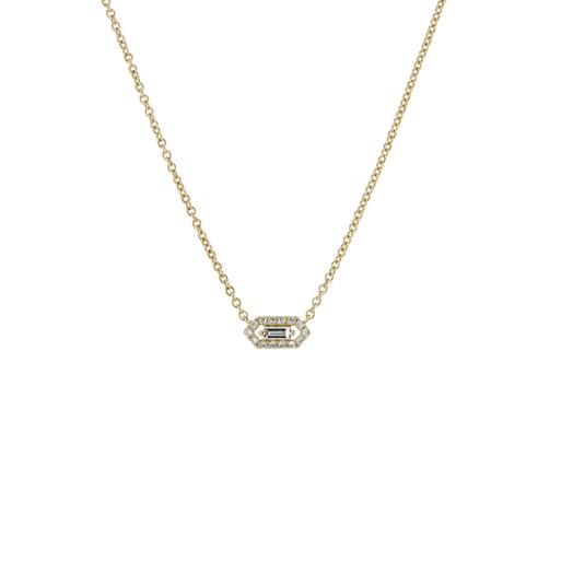14K Yellow Gold Petite Baguette Diamond Halo Pendant Necklace, TWT.09