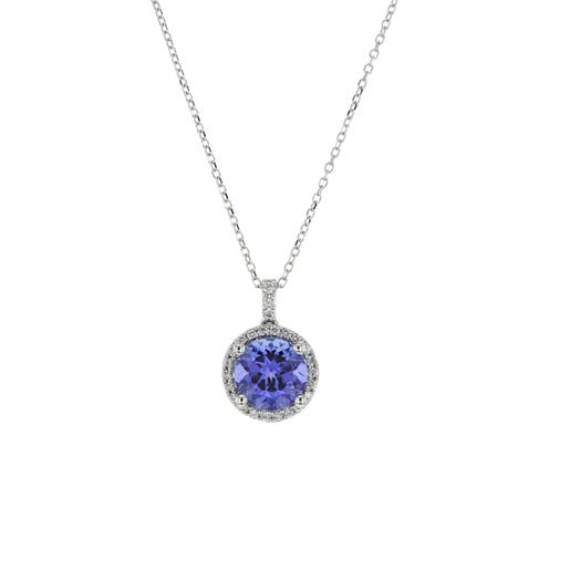 round-cut blue tanzanite gemstone set in halo of white diamond rounds that extend onto the bale, suspended from a white gold chain