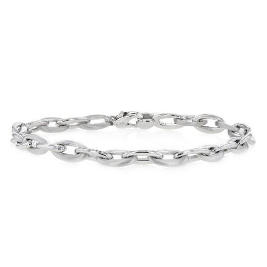 14K White Gold Brushed and Polished Oval Link Bracelet