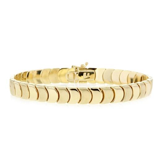 14K Yellow Gold Nesting Disc Links Bracelet
