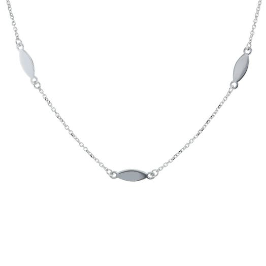 14K White Gold Mirror Oval Station Necklace