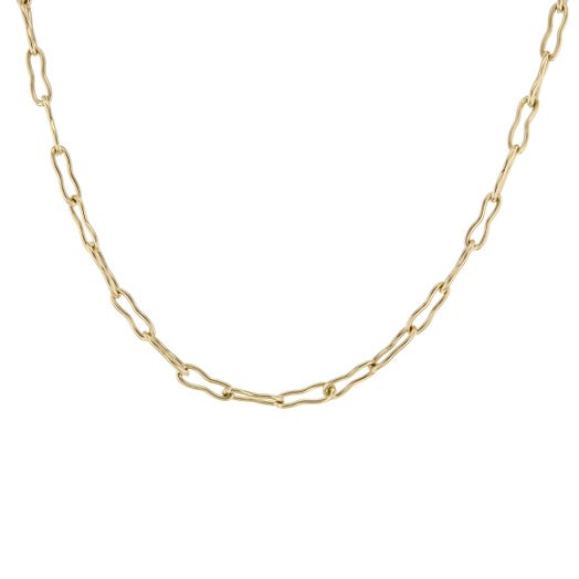 14K Yellow Gold Pinched Paperclip Petite Necklace