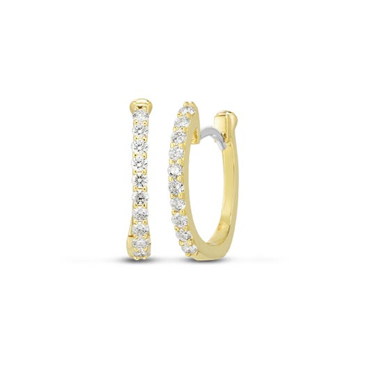 yellow gold huggie earrings with diamond rounds on each front