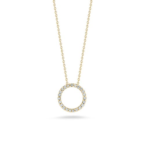 yellow gold necklace with open circle diamond accented pendant