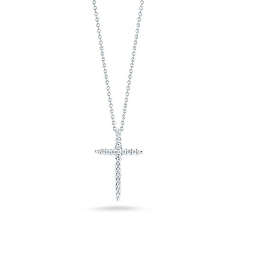 white gold necklace with large diamond accented cross pendant