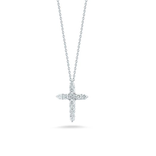 white gold necklace with diamond accented cross pendant