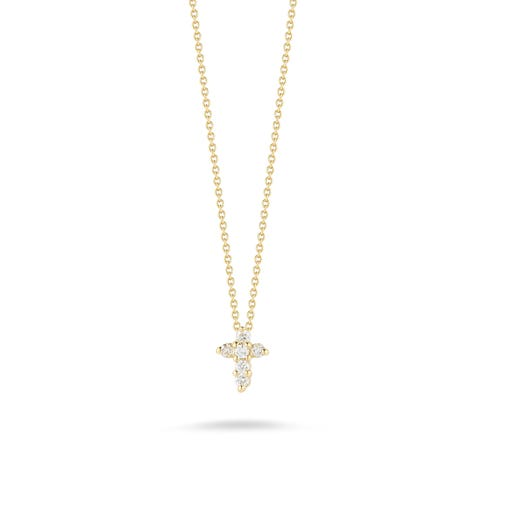 yellow gold necklace with diamond accented petite cross pendant