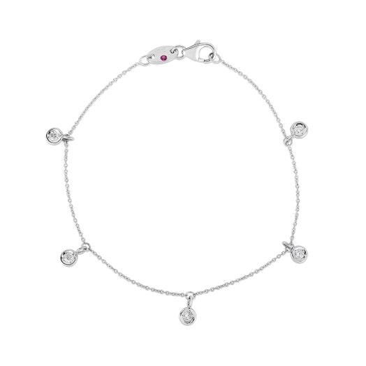 white gold bracelet with five bezel set dangling stations