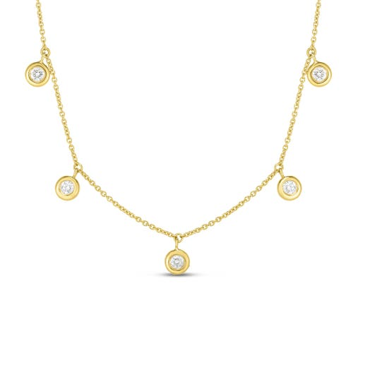 yellow gold necklace with five bezel-set diamond round stations