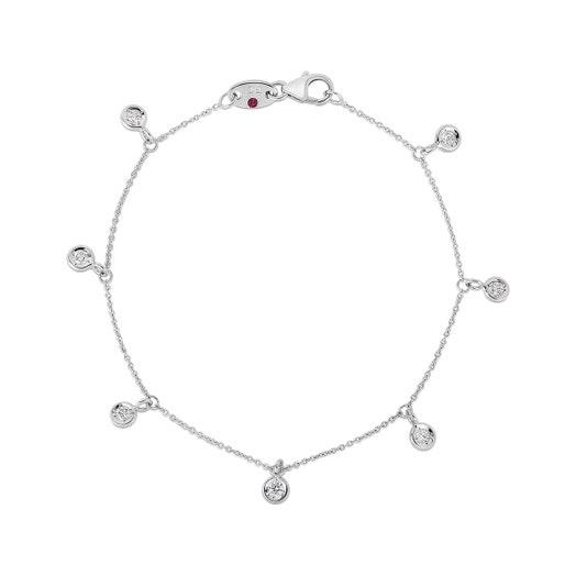 white gold bracelet with seven bezel set dangling diamond stations