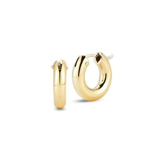 yellow gold tubed hoop earrings