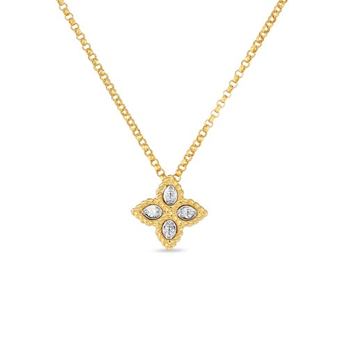 yellow gold necklace with yellow floral pendant with diamond accents
