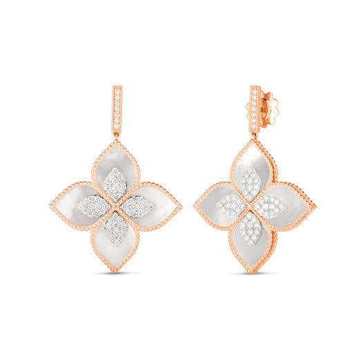 rose gold dangle earrings with mother of pearl and diamond accented floral design