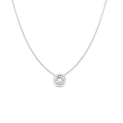 white gold chain with round-cut bezel set diamond pendant