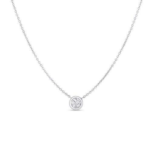 white gold chain with round-cut bezek set diamond pendant