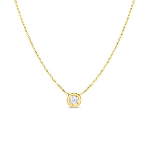 yellow gold chain with round-cut bezel set diamond pendant