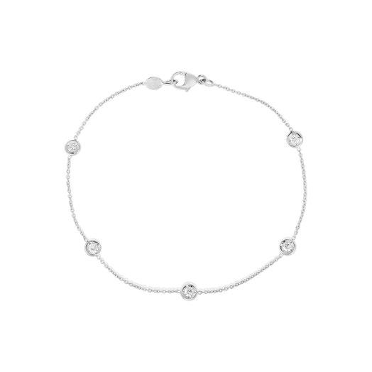 white gold bracelet with five stationed bezel set round diamonds