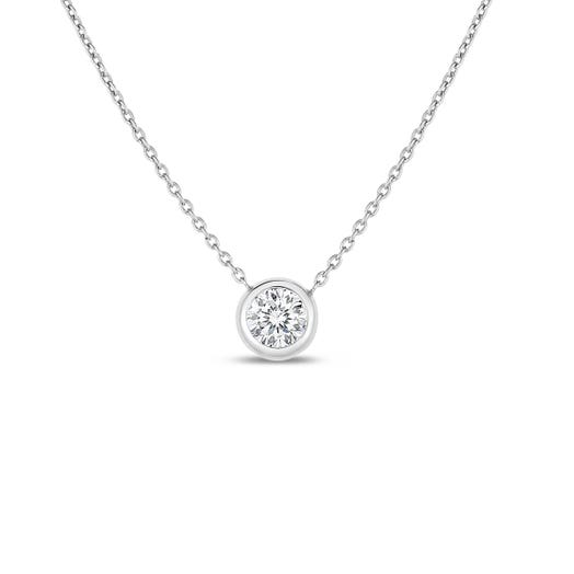 white gold chain with round cut bezel set diamond pendant