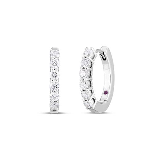 white gold hoop earrings with diamond rounds on each earring front