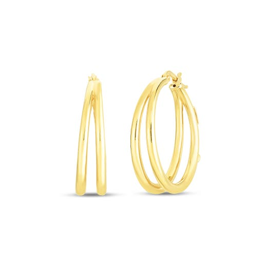 yellow gold double hooped earrings