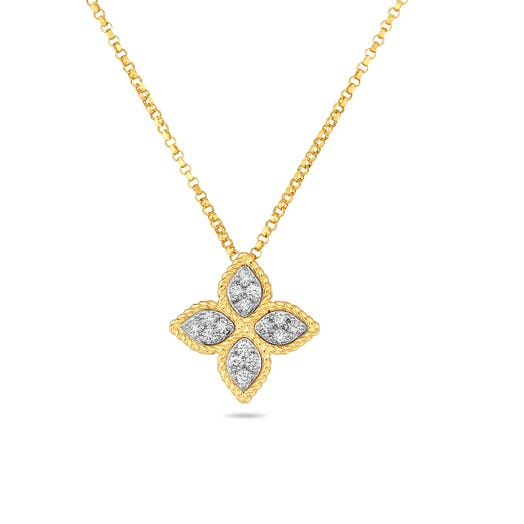 yellow gold necklace with yellow gold floral pendant with diamond accents