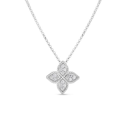 white gold necklace with diamond accented floral pendant