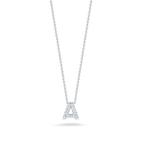 white gold necklace with diamond accented letter A pendant