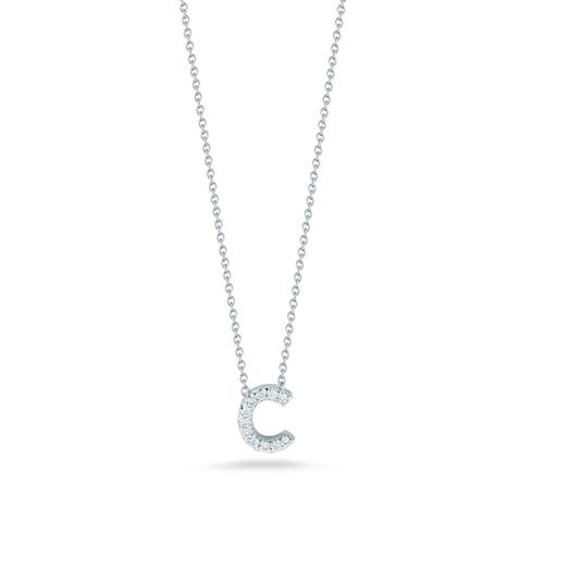 white gold necklace with diamond accented letter C pendant
