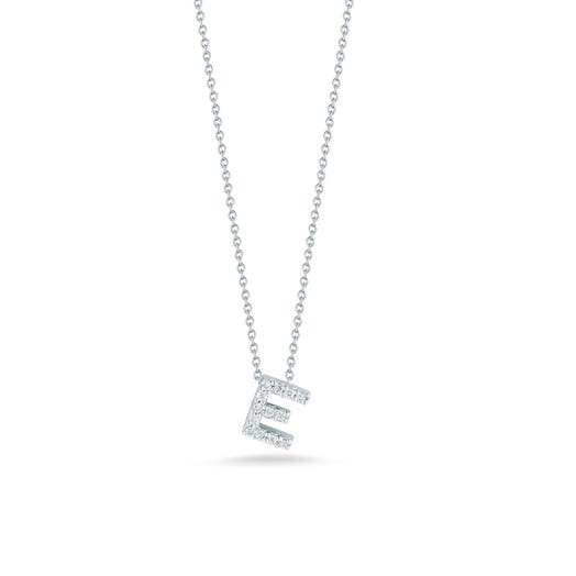 white gold necklace with diamond accented letter E pendant