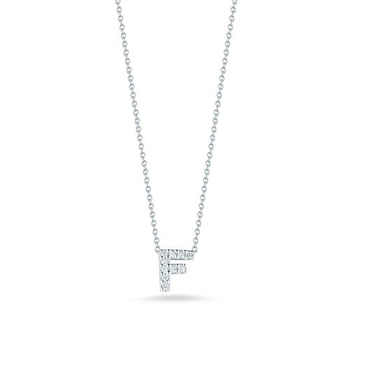 white gold necklace with diamond accented letter F pendant
