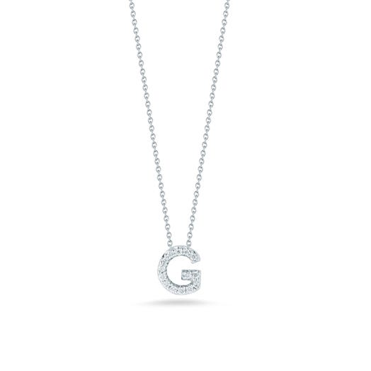 white gold chain with diamond accented letter G pendant