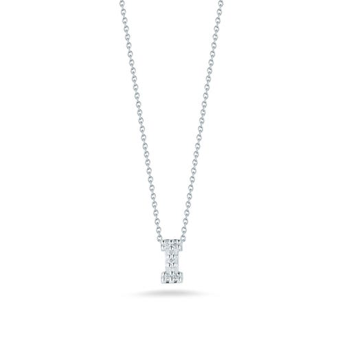 white gold necklace with diamond accented letter I pendant
