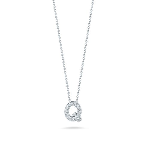 white gold necklace with diamond accented letter q pendant