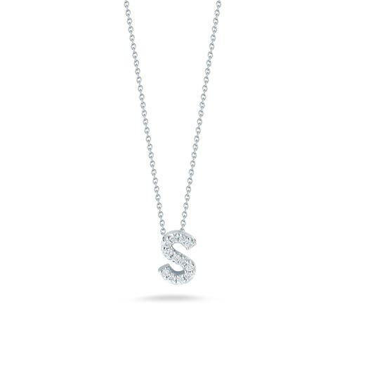 white gold necklace with diamond accented letter S pendant