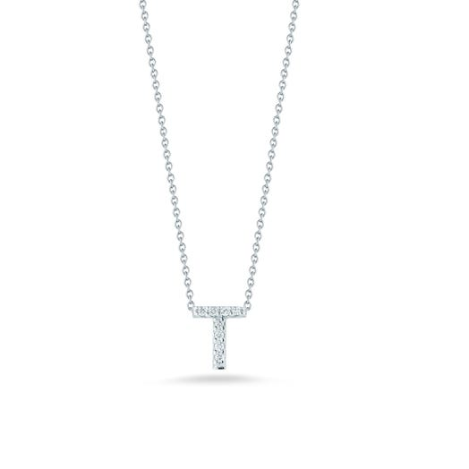 white gold necklace with diamond accented letter T pendant