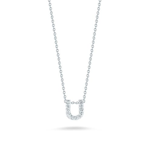 white gold necklace with diamond accented letter U pendant