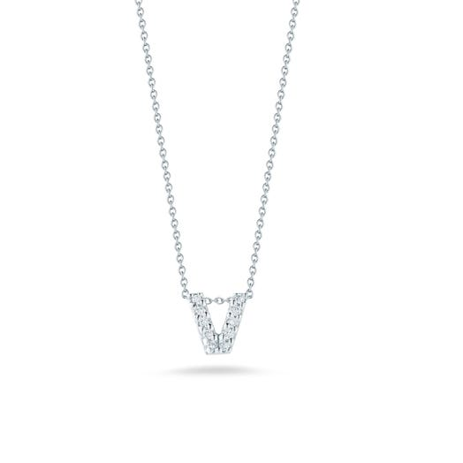 white gold necklace with diamond accented letter V pendant