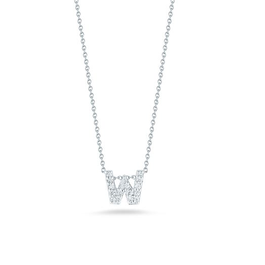 white gold necklace with diamond accented letter W pendant