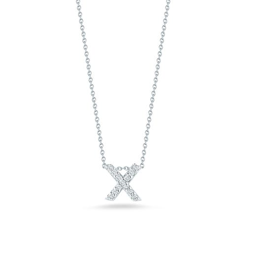 white gold necklace with diamond accented letter X pendant